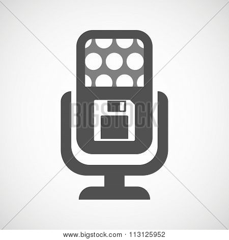 Isolated Microphone Icon With A Floppy Disk