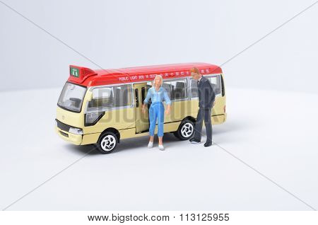 Toys Of Minibus Figure With White Background