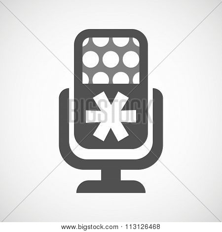 Isolated Microphone Icon With An Asterisk