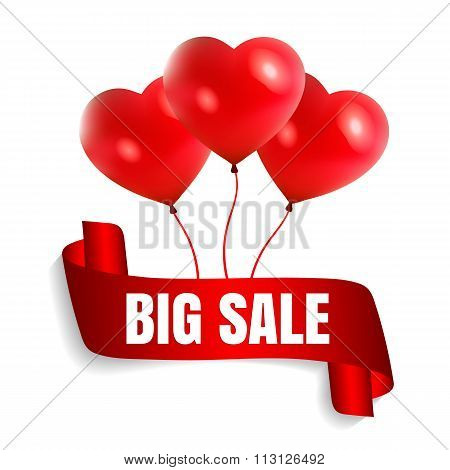 Happy Valentine's Day big sale card with red realistic ribbon banner and balloons in form of heart i