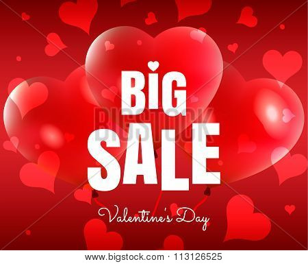 Happy Valentine's Day big sale card with red realistic  banner and balloons in form of heart isolate