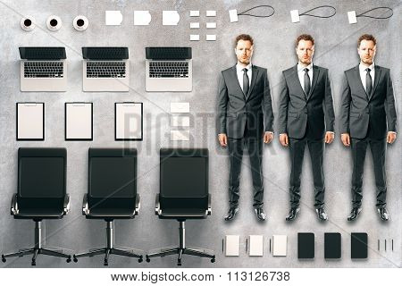 Office Tool Kit With Accessories, Furniture And Businessmen