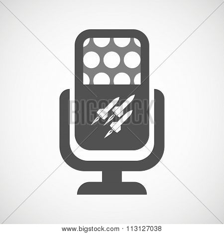 Isolated Microphone Icon With Missiles