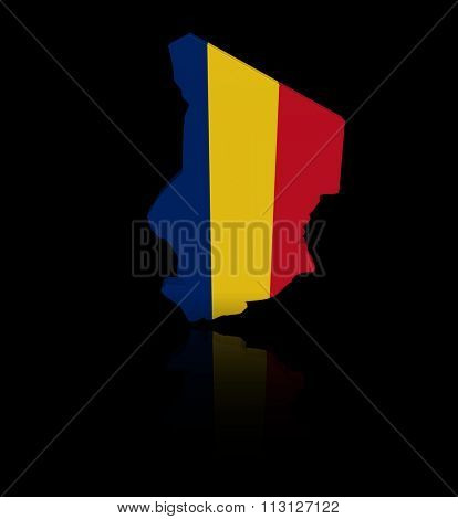 Chad map flag with reflection illustration