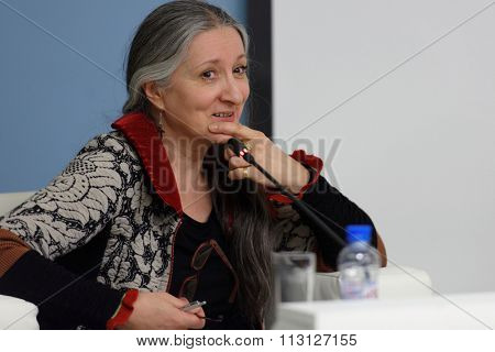 ST. PETERSBURG, RUSSIA - DECEMBER 15, 2015: Swedish dancer and teacher Ana Laguna at the panel discussion during 4th St. Petersburg International Cultural Forum