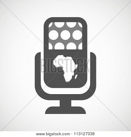 Isolated Microphone Icon With  A Map Of The African Continent