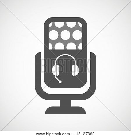 Isolated Microphone Icon With  A Hands Free Phone Device