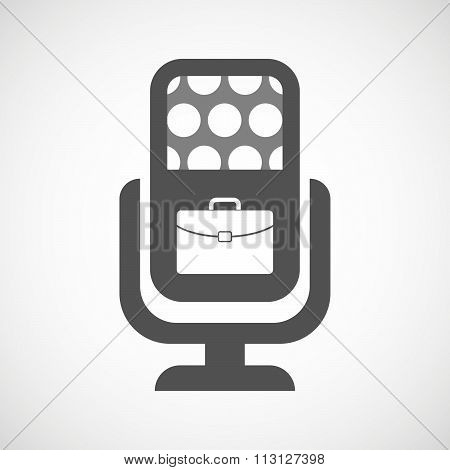 Isolated Microphone Icon With  A Breiefcase