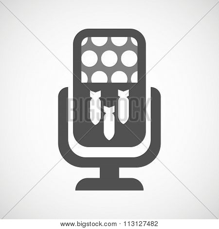 Isolated Microphone Icon With Three Bombs Falling