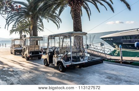 Golf Carts In Porto Montenegro In Tivat City, Montenegro