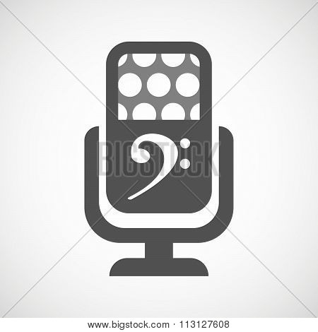 Isolated Microphone Icon With An F Clef
