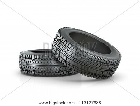 Stack Of Two New Wheels, Driving, Isolated On White Background