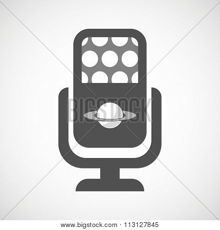 Isolated Microphone Icon With The Planet Saturn