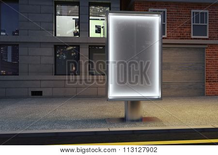 Blank Glowing Billboard On Empty Street At Night, Mock Up