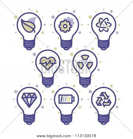 Lightbulb energy concept icons for web and mobile. Modern minimalistic flat design elements of energy saving, power concept, green technology