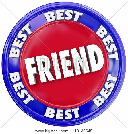 Friend word symolizing friendship in a seal or button, circular symbol