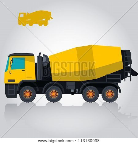 Yellow concrete mixer