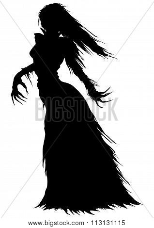 Victorian Ghost Or A Vampire Woman Silhouette
