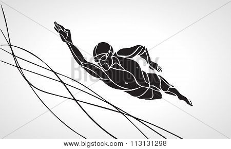 Freestyle Swimmer Silhouette. Sport swimming