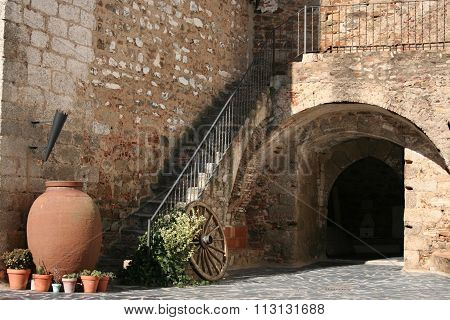 Courtyard of Olivenza castle built by Templar Knights