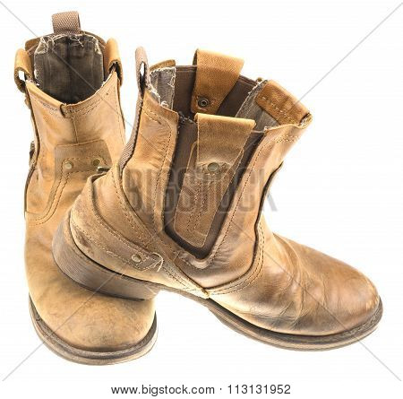 Isolated Patina Engineer Leather Boot