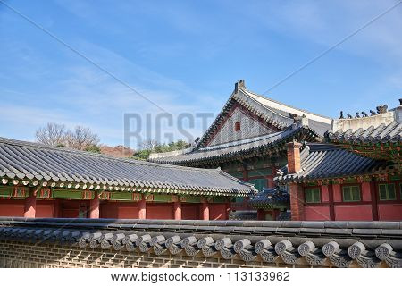 Tiled Roofs Of Korean Traditional Palace
