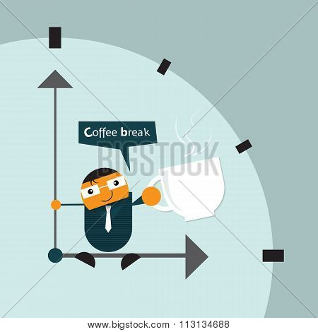 cartoon businessman relaxing sitting on hand clock. take a break time