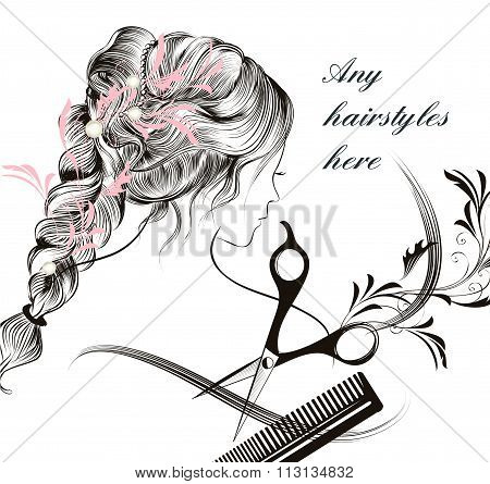 Beautiful Young Longhaired  Girl  Comb And Scissors Symbol Of Hairdressing