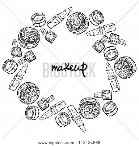 Makeup. Cosmetics: lipstick, nail polish, powder, eye shadow. Round frame - wreath. Isolated object