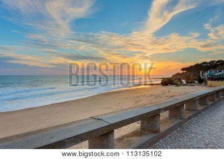 Sunset On The Beach Olhos De Agua. Portugal Albufeira.