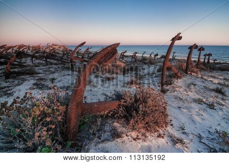 Portuguese Beach Cemetery Anchors. Barril.