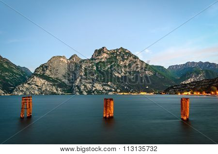 Beautiful Landscape With Lake And Mountains (lago Di Garda Italy)