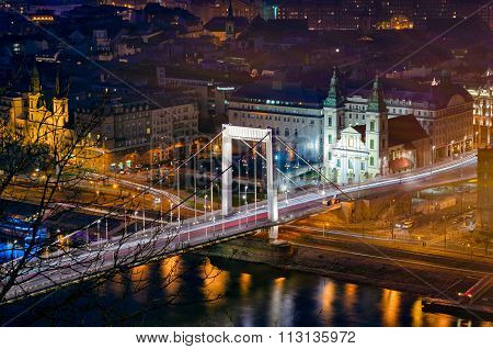 Budapest Elizabeth Bridge At Night