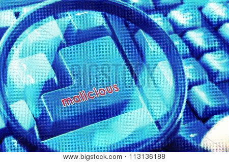 Magnifying Glass On Keyboard With Malicious Word On Button. Color Halftone Effect Applied.