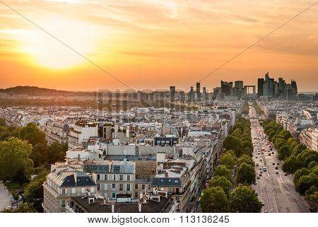 La Defense At Sunset (paris)
