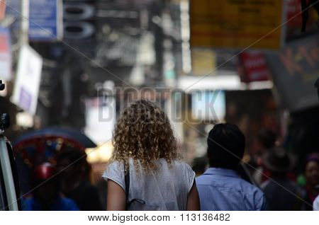 Blond woman in the streets of Kathmandu
