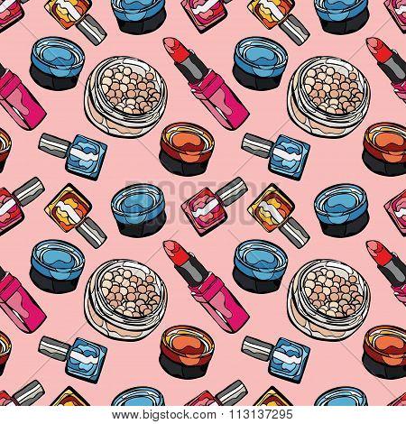 Cosmetics. Powder, eye shadow, nail polish, lipstick. Vector seamless pattern (background).