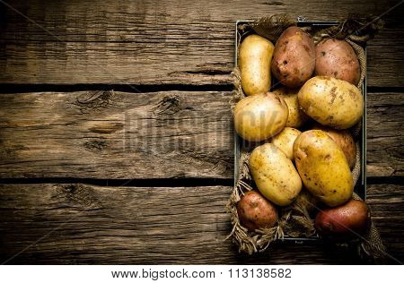 Potatoes In An Old Box On A Wooden Table . Free Space For Text.