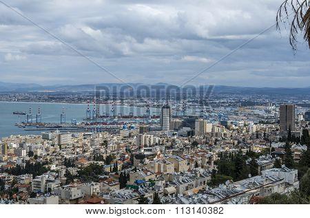 Haifa, Israel - January 2, 2016 :  View of Haifa bay and the Bahai Gardens