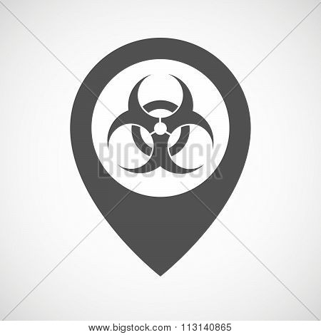 Isolated Map Marker With A Biohazard Sign
