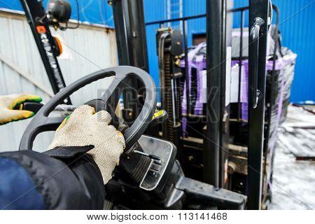 Worker Driver Of Forklift