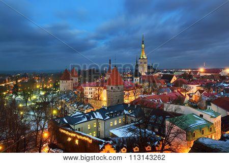 Tallinn City, Estonia. Winter Panoram View By Night