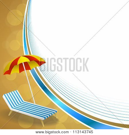 Background abstract summer beach vacation deck chair umbrella blue yellow frame wave illustration