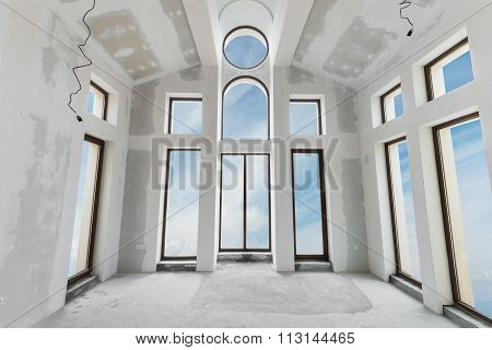 Unfinished Building Interior, White Room (includes Clipping Path)