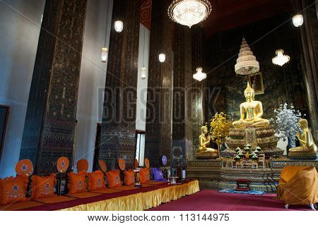 Buddha In Ancient Temple,Bangkok.
