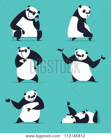Cartoon Panda set.