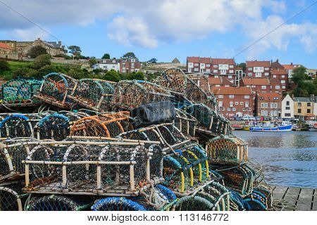 Basket For Catch Lobster On The Boardwalk In Whitby Abbey, North Yorkshire, Uk