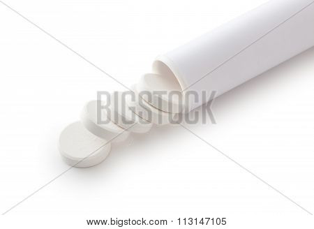 Tablets Pills On White Background