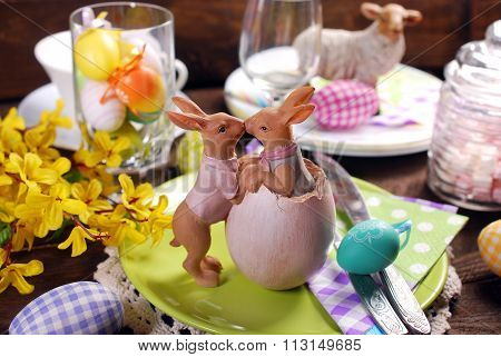 Kissing Rabbits Decoration On Easter Table