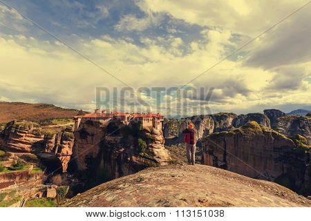 Tourist in Meteora, Greece